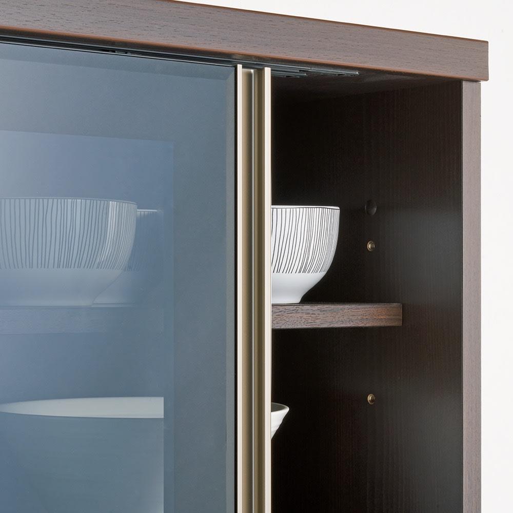 高機能 モダンシックキッチンシリーズ 食器棚 幅60高さ186cm(カウンター高さ85cm) ガラス扉には上質な印象のグレーガラスを採用。収納物が綺麗に見えます。