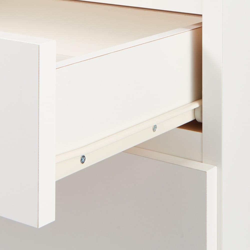 組み合わせ自在の薄型人工大理石天板カウンター 扉タイプ幅45cm 引出しはストッパー付きスライドレールつき。滑らかに開閉することができます。