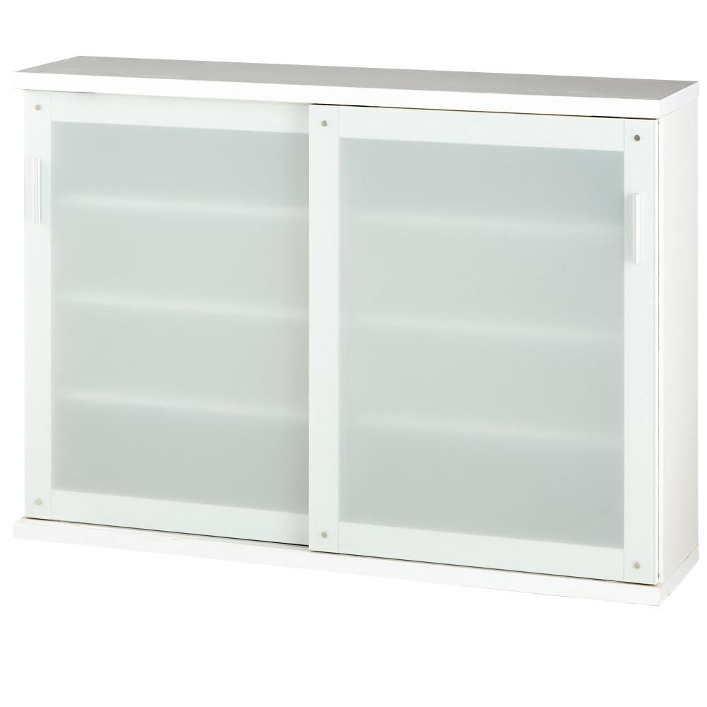 収納物の見やすい ガラス戸カウンター下収納庫 引き戸・幅90cm ※お届けする商品です。天板耐荷重:約10kg
