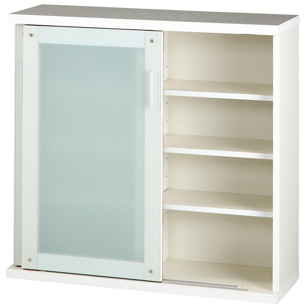 収納物の見やすい ガラス戸カウンター下収納庫 引き戸・幅90cm 可動収納棚板6枚付き。  ※写真は引き戸・幅90cmです。