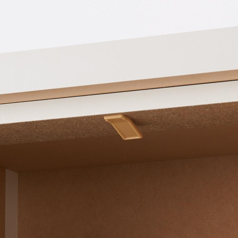 引き戸カウンター下収納庫 奥行23高さ87cmタイプ 引き出し・幅44.5cm 引き出しにストッパー付き。引出しの抜け落ちを軽減します。(最下段の深引き出しは除く。)