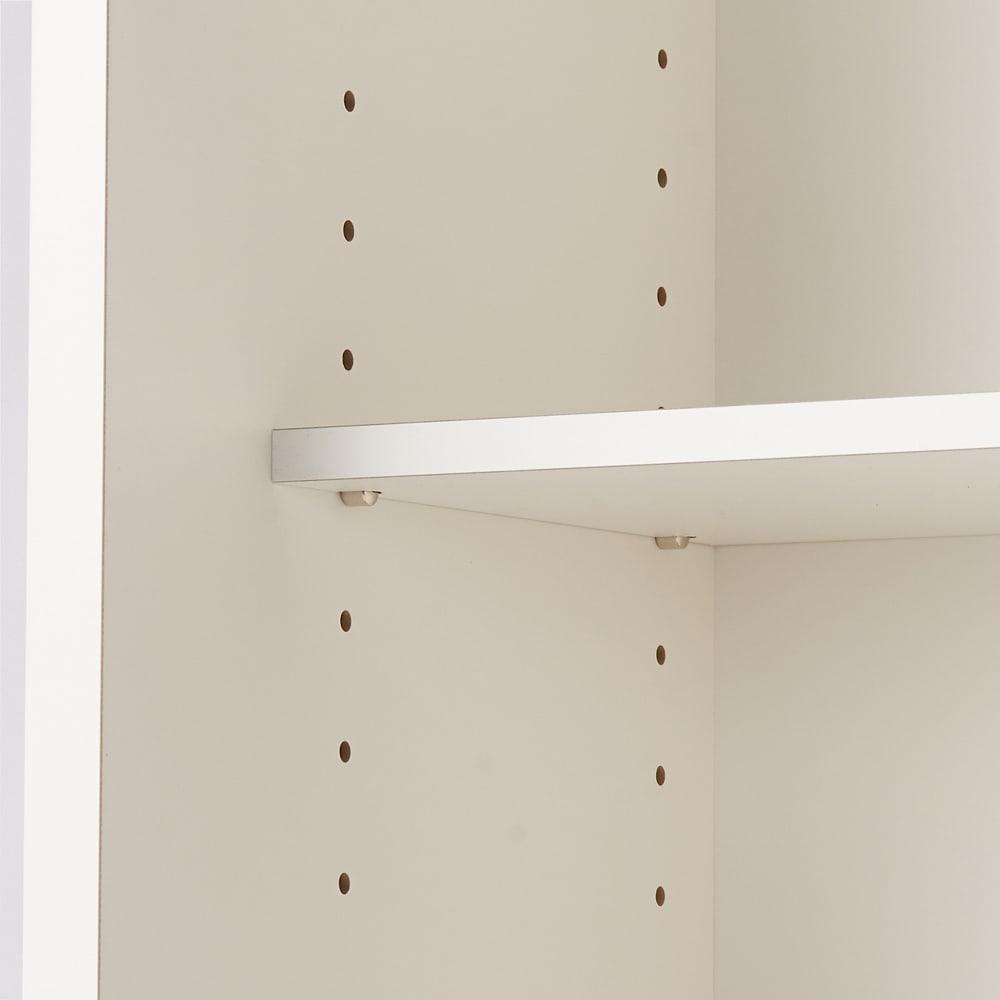 引き戸カウンター下収納庫 奥行23高さ87cmタイプ オープンラック・幅59.5cm 可動収納棚板は3cm間隔で調節が可能です。