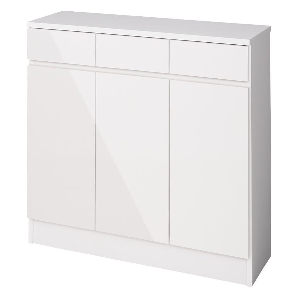 家電も小物も使いやすくしまえるカウンター下収納庫 カウンター扉 幅88cm (ア)ホワイト 扉はプッシュ式で開閉します。