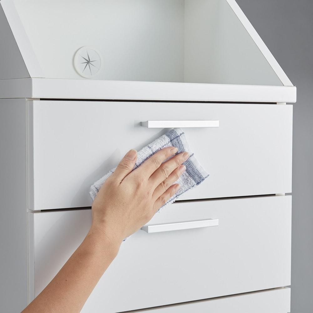 狭いカウンター天板下にもすっきり納まる収納庫シリーズ 引き出し 幅44cm(高さ70cm/高さ85cm) (ア)ホワイトの前板はポリエステル化粧合板で、お手入れも簡単。