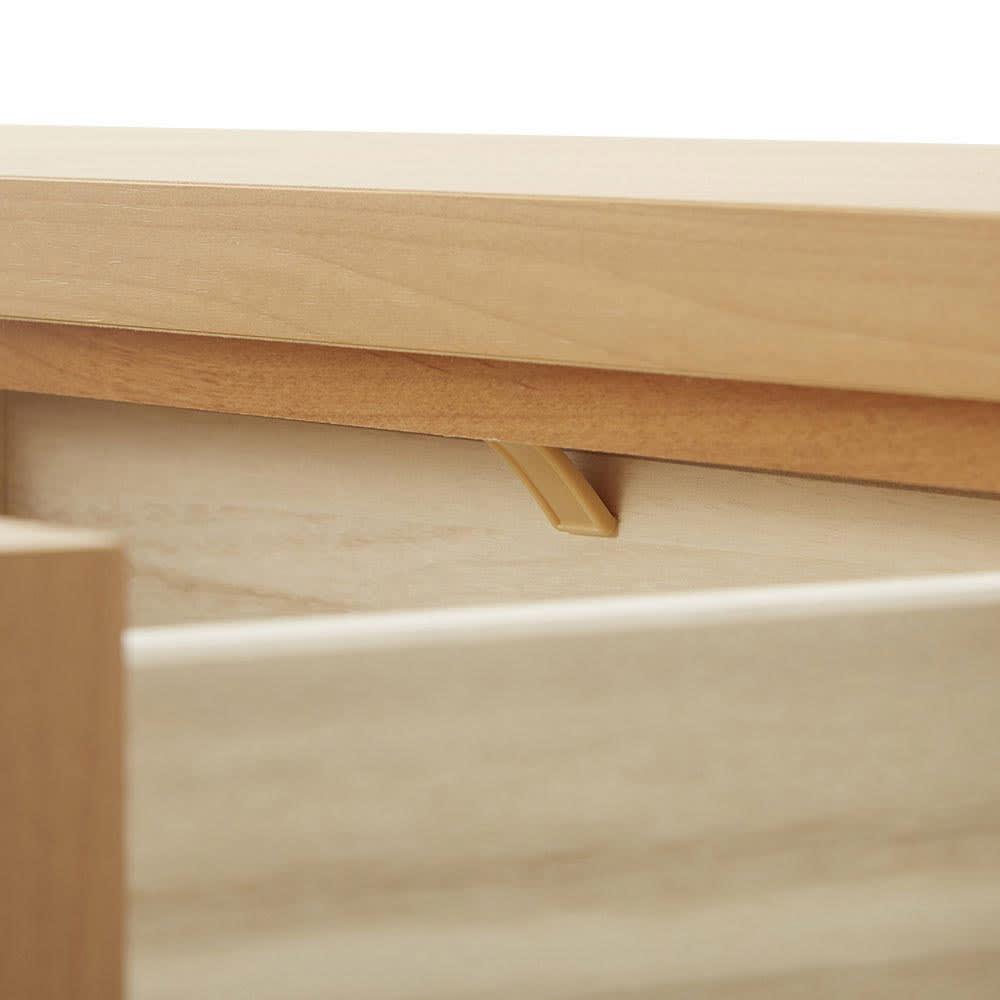 伸長式カウンター下収納庫 幅160~260cm 引き出しはストッパー付きで抜け落ちを防止します。
