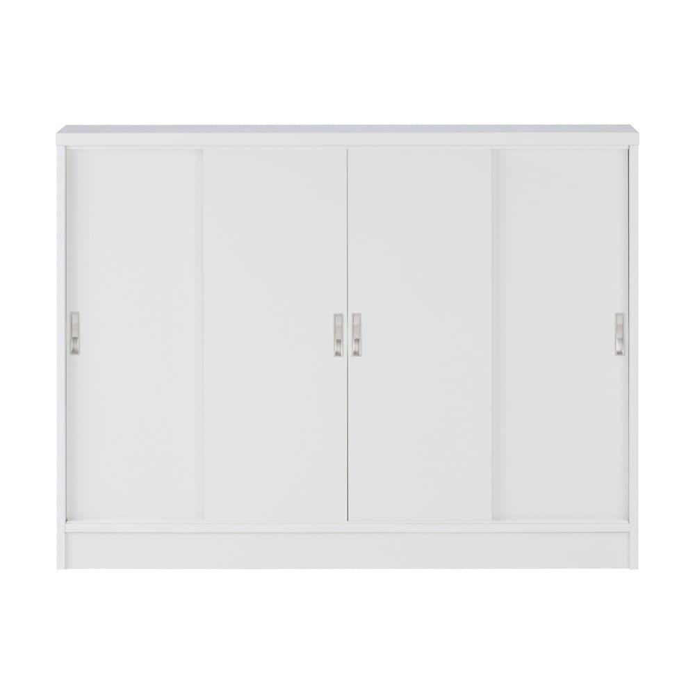1cmピッチで棚板調整カウンター下引き戸収納庫 幅120cm(4枚扉) 奥行30cm・高さ70cm (ウ)ホワイト