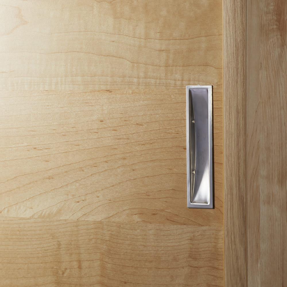 1cmピッチで棚板調整カウンター下引き戸収納庫 幅90cm(2枚扉) 奥行21.5cm・高さ90cm (イ)ナチュラル