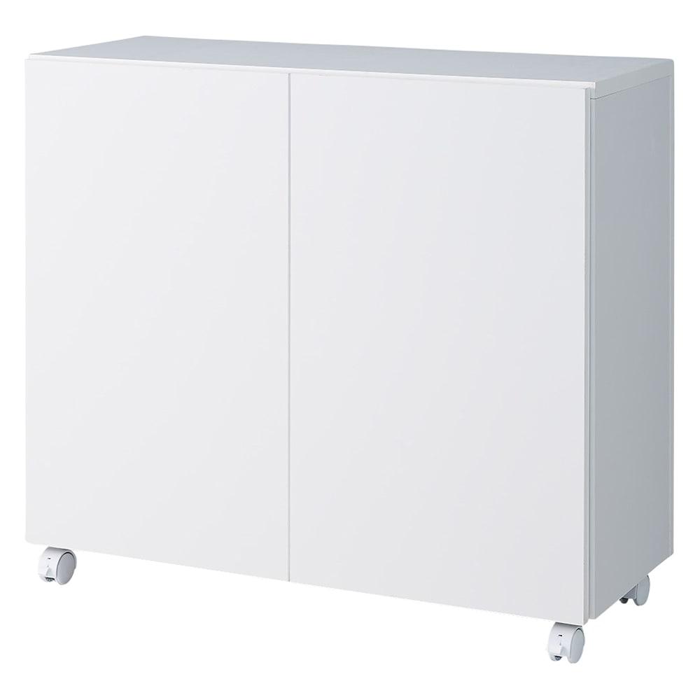 家具 収納 キッチン収納 食器棚 カウンター下収納 サッと片付くカウンター下収納ワゴン 扉 幅79cm 549924