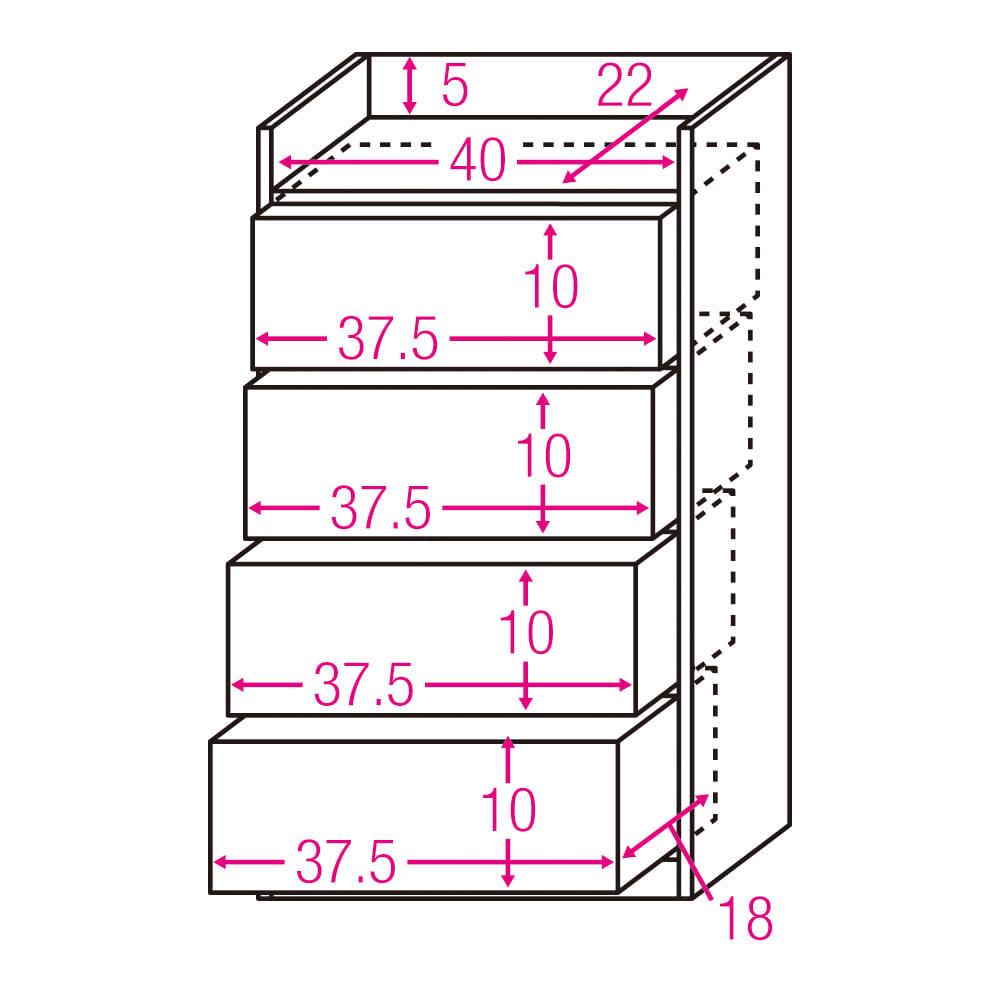 コンセント付きカウンター下収納庫 引き出し 幅44cm奥行25cm 内寸図(単位:cm)