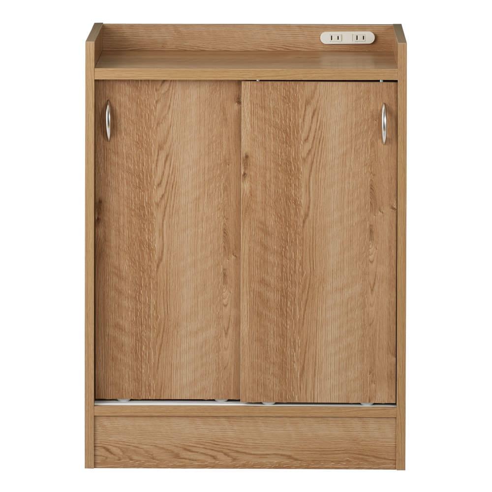 コンセント付き引き戸カウンター下収納庫 幅60cm奥行25cm (イ)ブラウン 温かみのある人気の木目柄ブラウン。