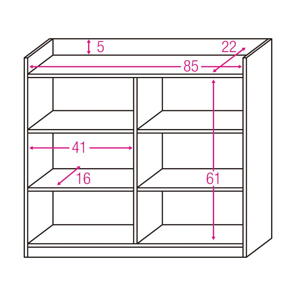 コンセント付き引き戸カウンター下収納庫 幅89cm奥行25cm 内寸図(単位:cm)