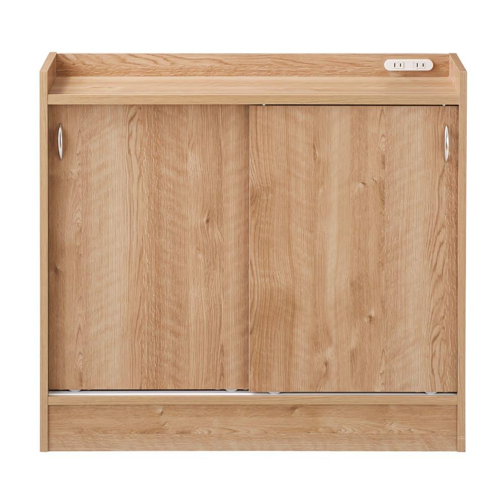 コンセント付き引き戸カウンター下収納庫 幅89cm奥行35cm (イ)ブラウン 温かみのある人気の木目柄ブラウン。