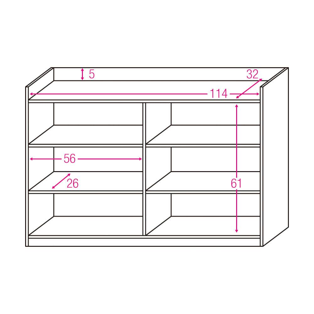 コンセント付き引き戸カウンター下収納庫 幅118cm奥行35cm 内寸図(単位:cm)