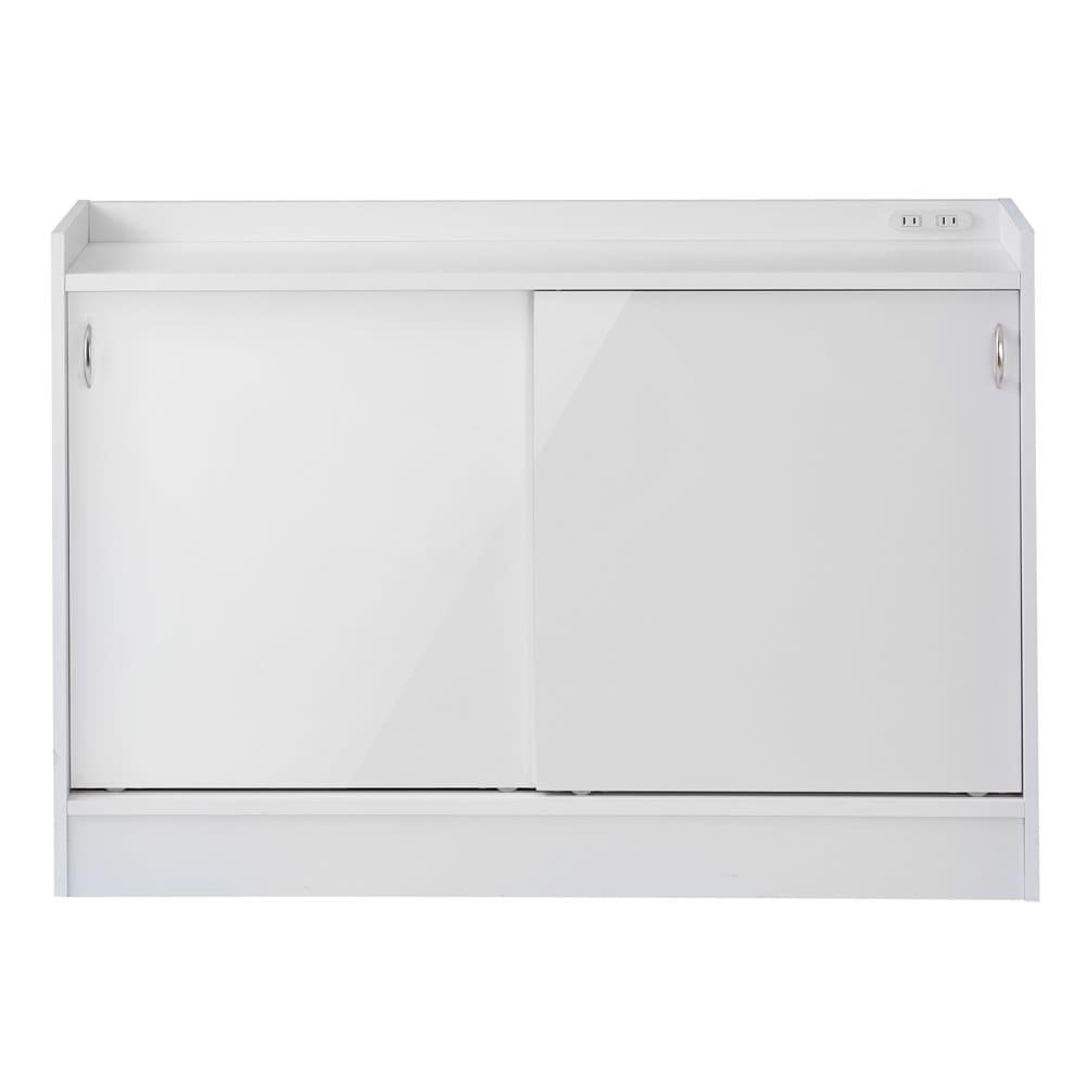 コンセント付き引き戸カウンター下収納庫 幅118cm奥行35cm (ア)ホワイト 美しい光沢の白色で清潔感のある空間に。