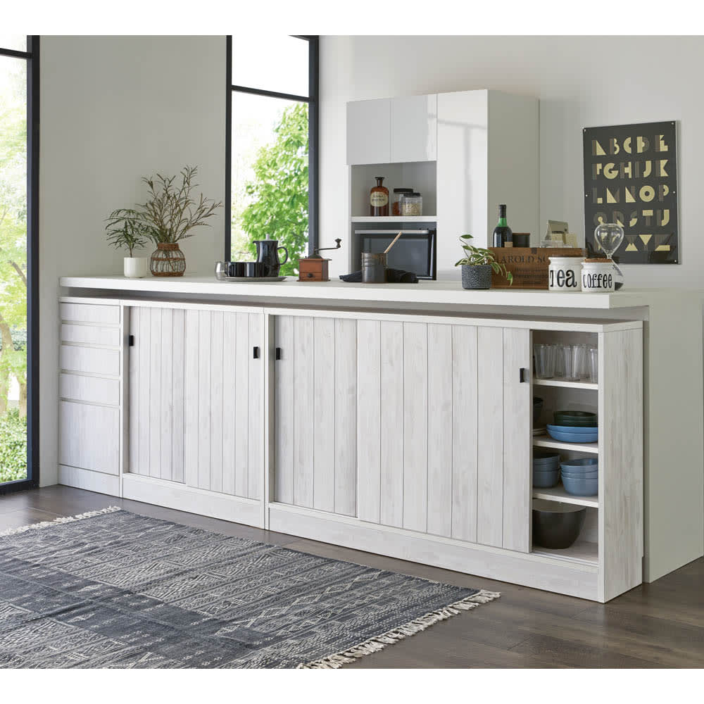 ヴィンテージ調ホワイト木目カウンター下収納庫 引き出し 幅45cm高さ90cm キッチンカウンターの下を、備え付けのような収納空間にすることができます。