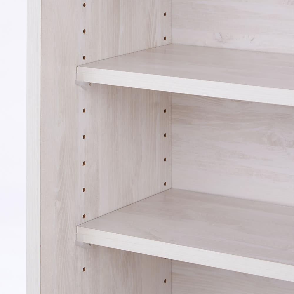 ヴィンテージ調ホワイト木目カウンター下収納庫 幅90cm高さ70cm 収納棚は収納物に合わせて3cm間隔で高さを調整できます。