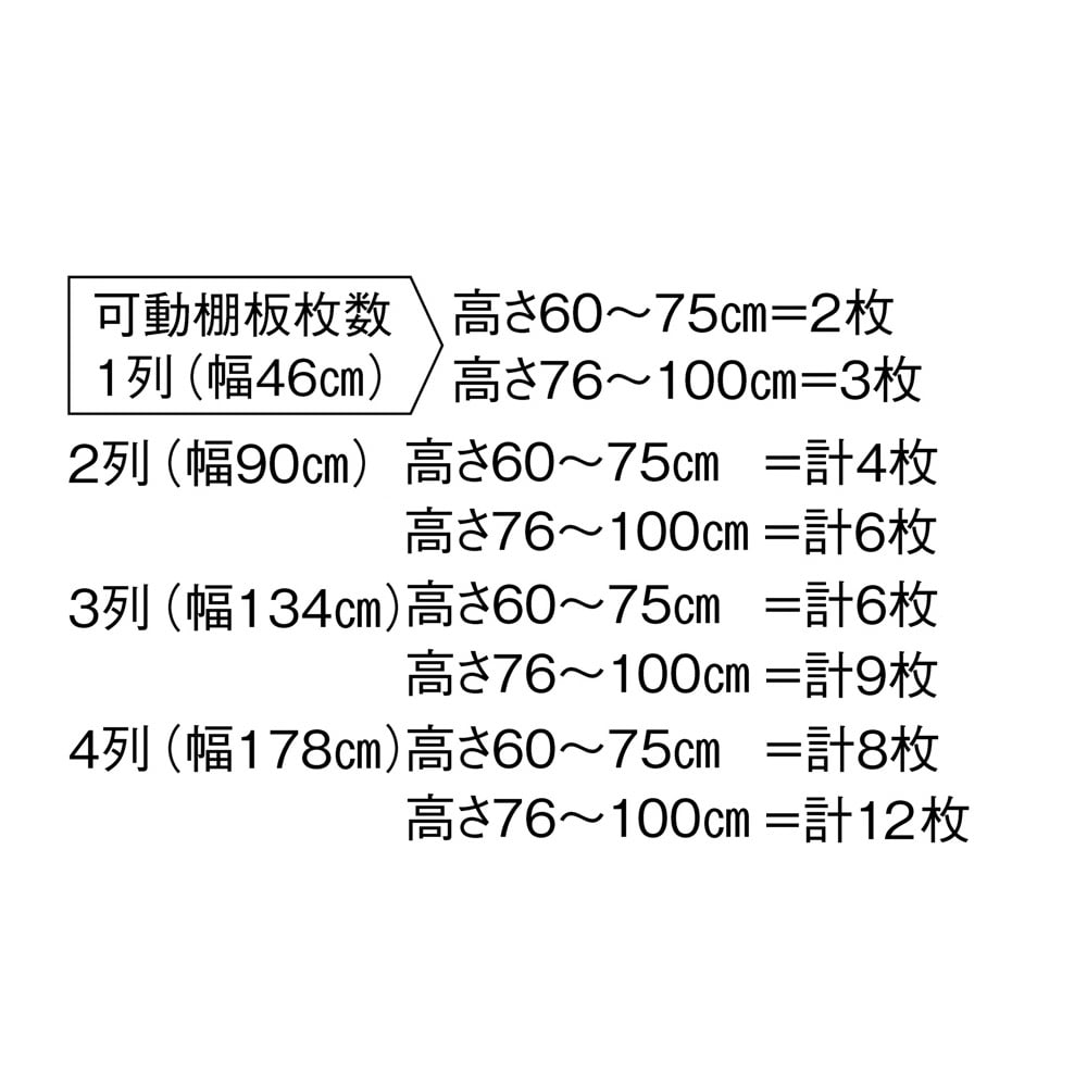 高さサイズオーダー奥行15cmオープンカウンター 4列 幅178高さ60~100cm 可動棚板枚数:オーダー高さ60~75cm=8枚、高さ76~100cm=12枚