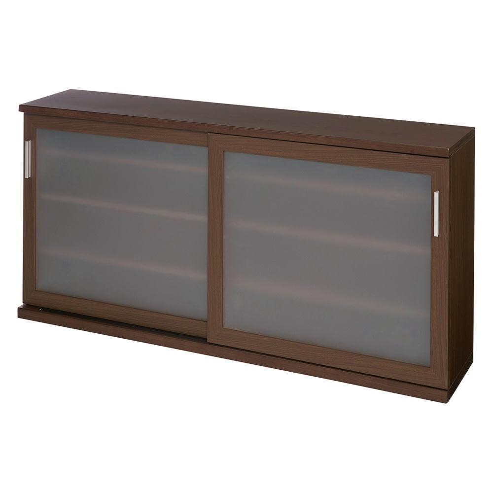 ほんのり透けるカウンターシリーズ 引き戸 幅145cm (イ)ウォルナット ※写真は高さ70cmタイプ