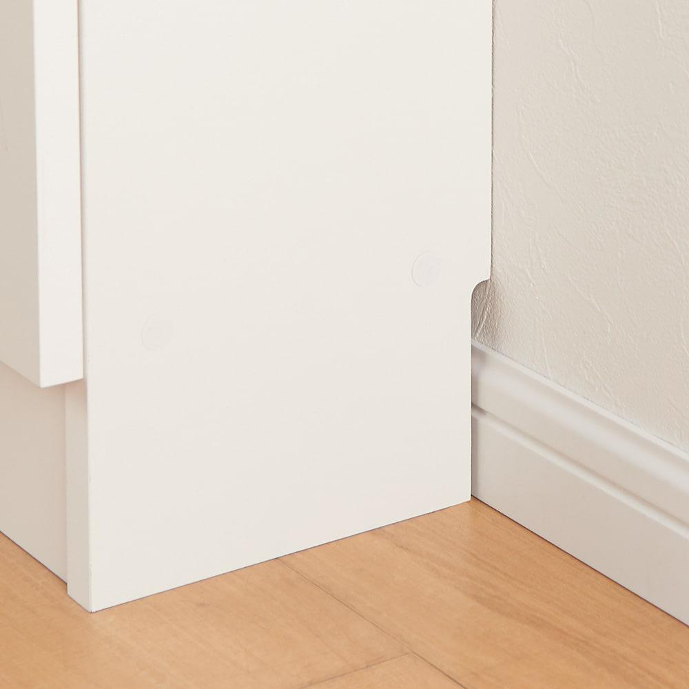 ストレートカウンター下引き戸収納庫 幅150 奥行20cm 薄型タイプ 幅木カット(9×1cm)付で壁にぴったり設置可能です。