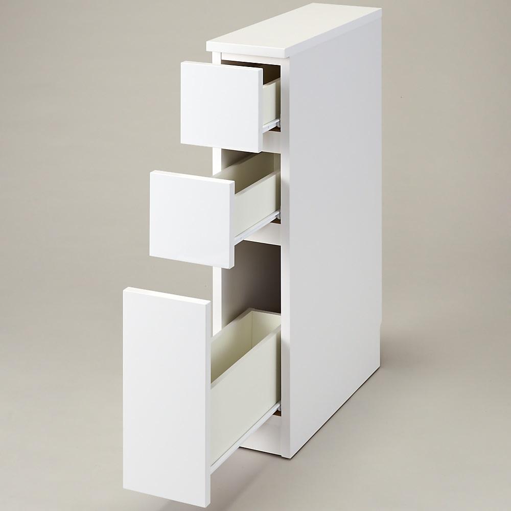 組立不要!幅1cm単位で124サイズから選べるすき間収納庫 ロータイプ 幅15~30cm・奥行55cm (ア)ホワイト