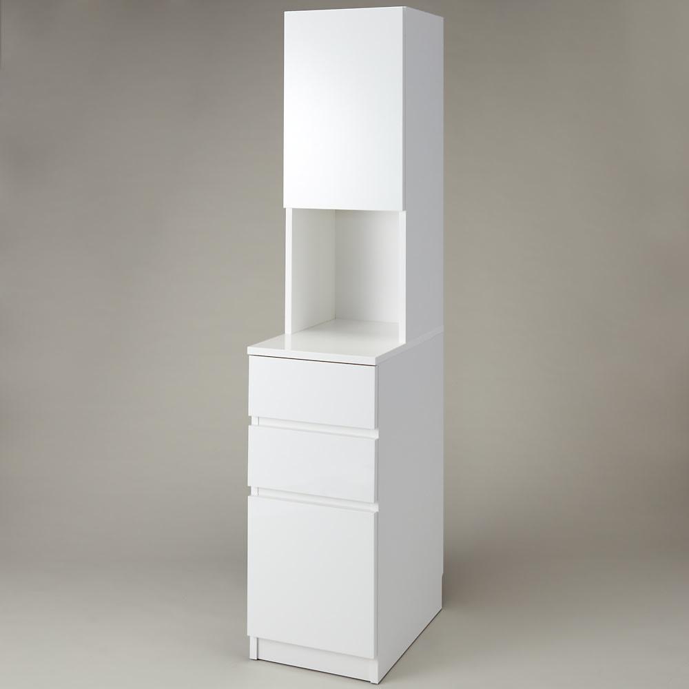 組立不要!幅1cm単位で124サイズから選べるすき間収納庫 ハイタイプ ロータイプ 幅31~45cm・奥行55cm (ア)ホワイト