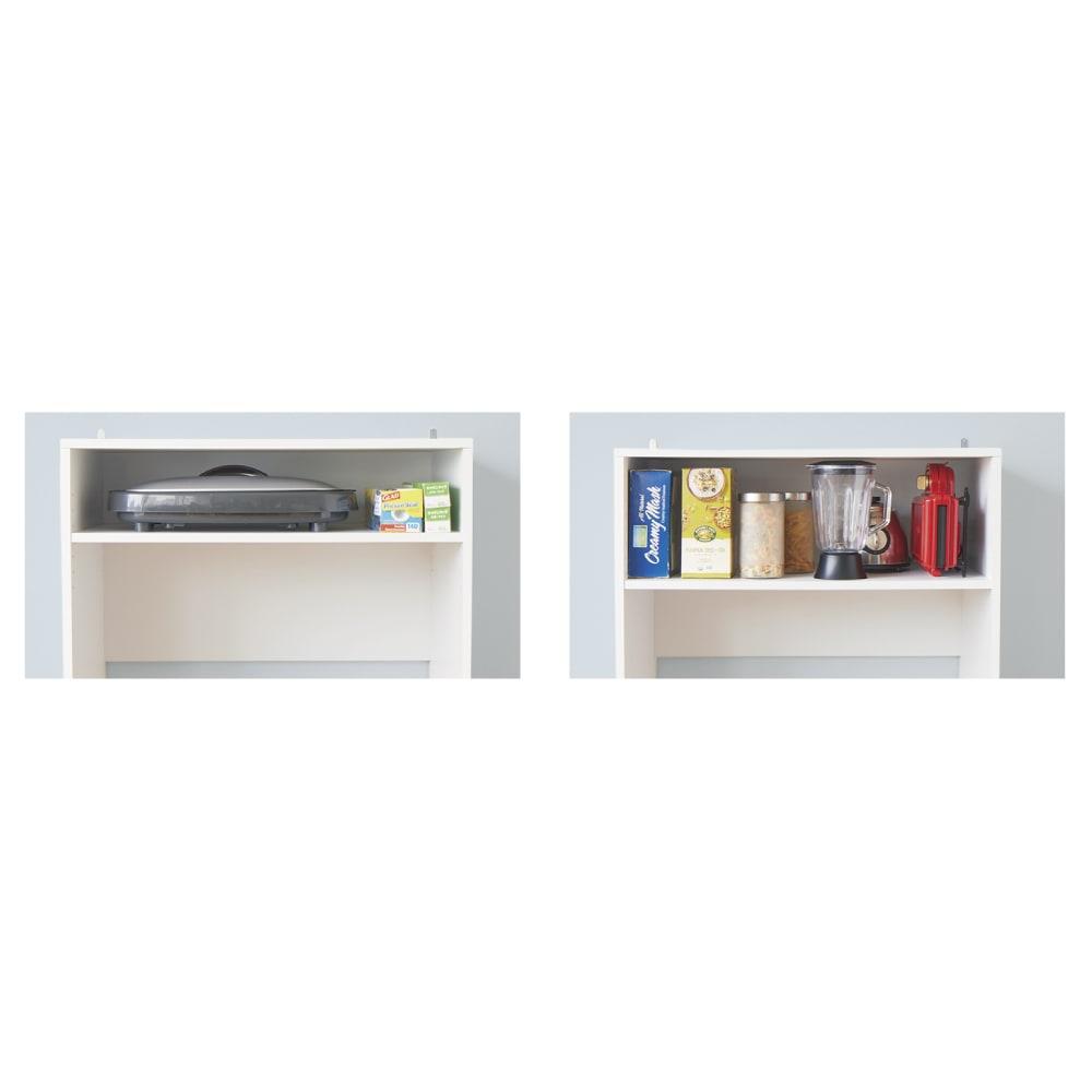 ゴミ箱上を有効活用!キッチンカウンター作業台 幅79cm・奥行34cm 【便利で使いやすいポイント 2 】棚位置が変えられるから、もったいない空間も収納に。
