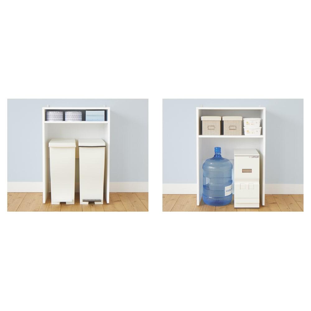 ゴミ箱上を有効活用!キッチンカウンター作業台 幅59cm・奥行44cm 【便利で使いやすいポイント 1 】ゴミ箱以外にも便利なオープン部。
