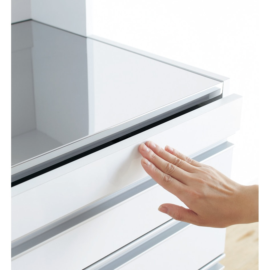 光沢仕上げダブルステンレス天板すき間収納庫 ロータイプ高さ85cm 幅25cm 片手でポンッと押して使えるプッシュマグネット式スライドテーブル。