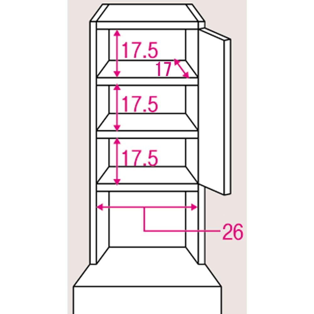 水ハネに強いポリエステル仕様 キッチンすき間収納庫 奥行55cm・幅30cm ハイタイプ 上段棚部のサイズ入り詳細図。棚板は3cmピッチで可動できます。