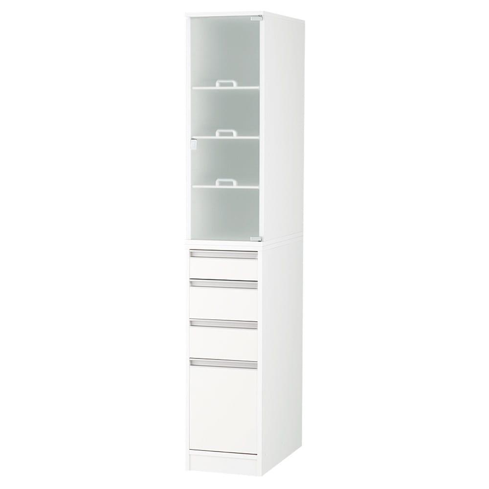 上品な清潔感のあるアクリル扉のキッチンすき間収納 幅30cm・奥行55cm