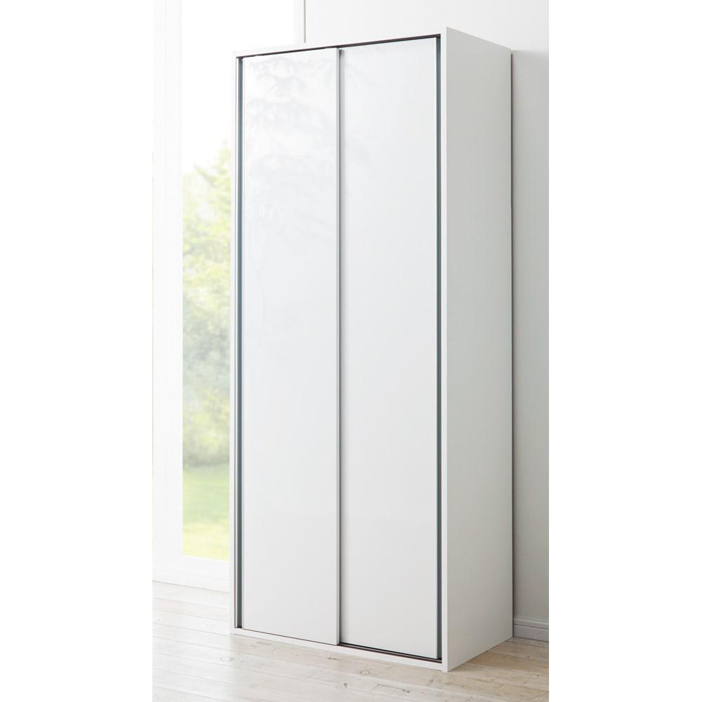 頑丈引き戸キッチンストッカー 幅76cm (ア)ホワイト