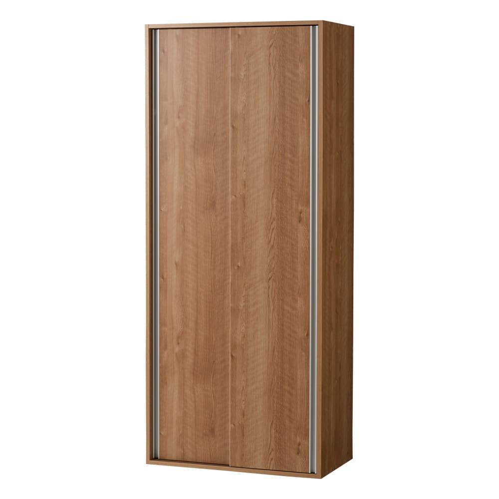 頑丈引き戸キッチンストッカー 幅76cm (イ)ブラウン(木目)