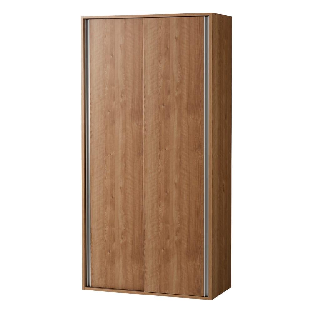 頑丈引き戸キッチンストッカー 幅91cm (イ)ブラウン(木目)
