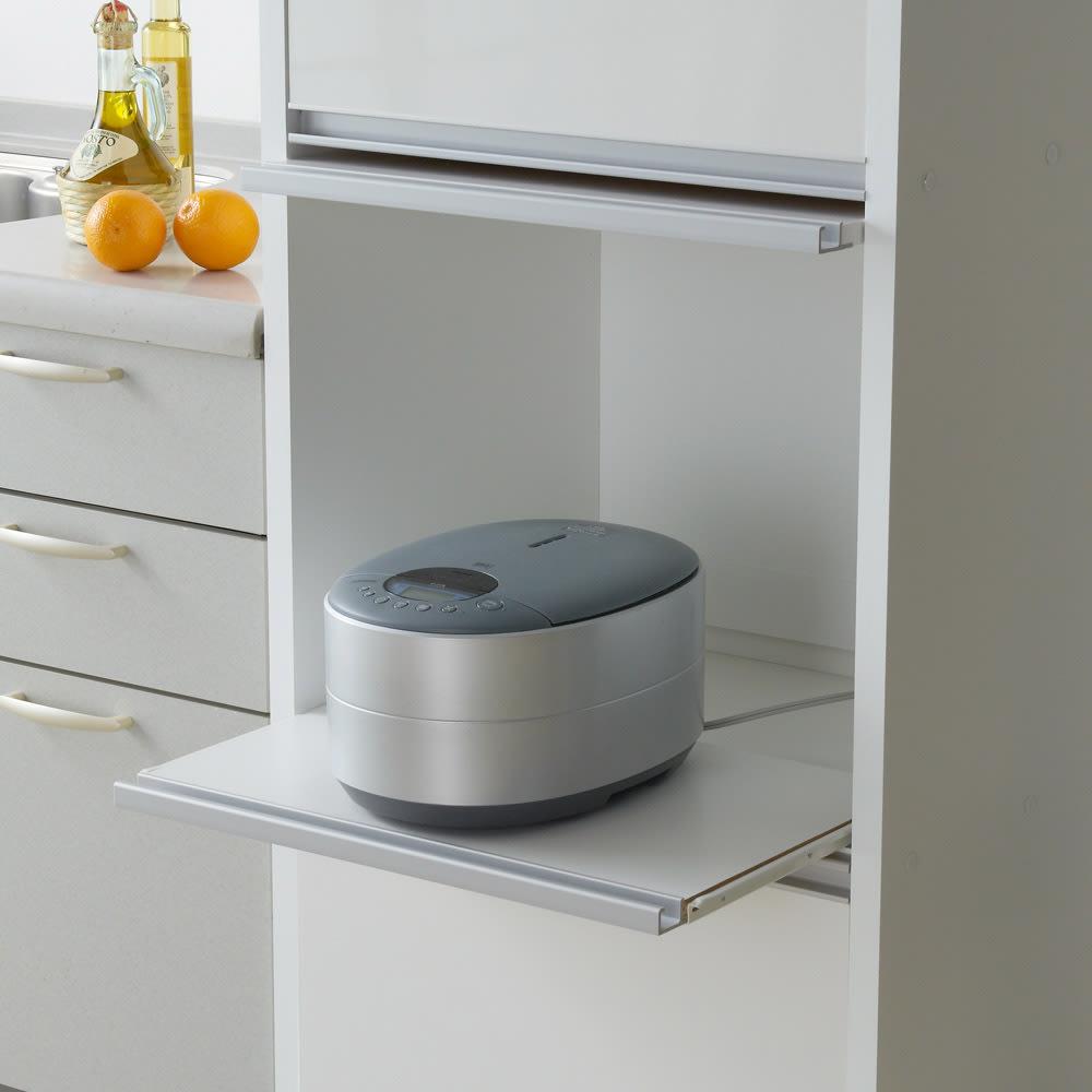 家電が隠せる!シンプル家電収納ストッカー 高さ180cm 蒸気をこもらせない為のスライドテーブル付き。 炊飯器や電気ケトルをご使用の時に便利です。