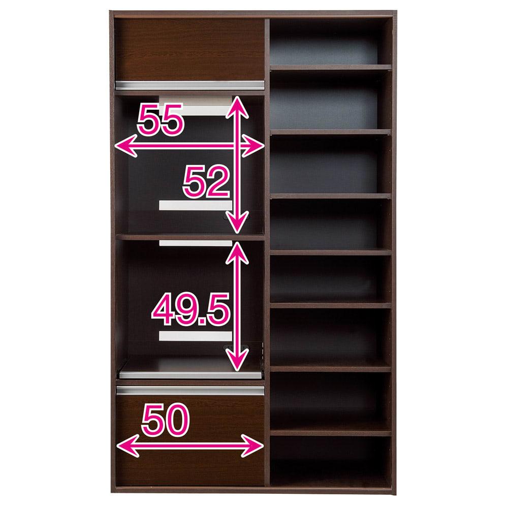 引き戸スライド扉で隠せる光沢仕上げキッチン家電収納庫 大型レンジ対応奥行55cmタイプ 赤文字は内寸(単位:cm) スライドテーブル部の内寸奥行44.5(コンセント含まず)