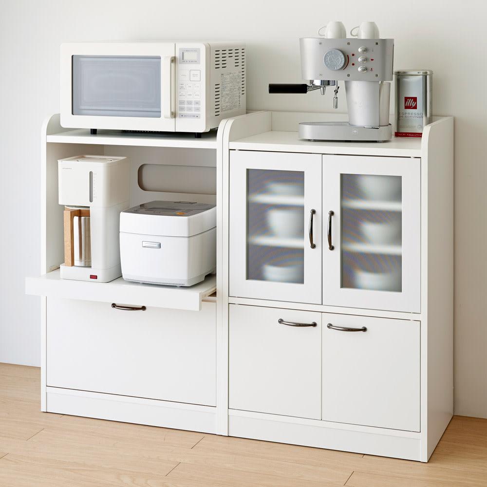キッチン収納ミニ食器棚シリーズ レンジ台小(高さ90.5cm) シリーズ商品には同じサイズの食器棚もご用意しております。