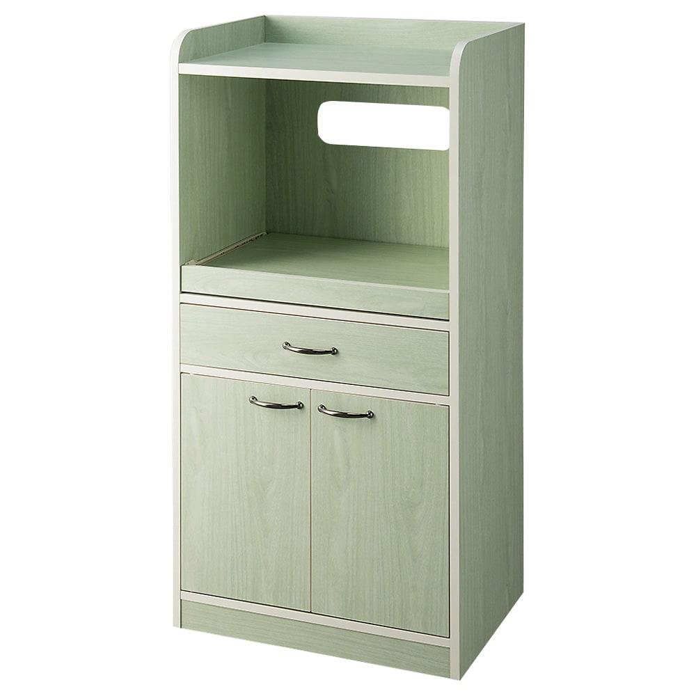 キッチン収納ミニ食器棚シリーズ レンジ台大(高さ120.5cm) (ア)グリーン系