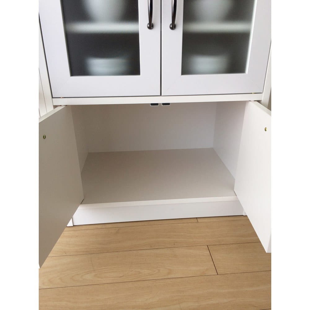 キッチン収納ミニ食器棚シリーズ キャビネット小(高さ90.5cm) 最下段は食品やお米などのストッカーに。