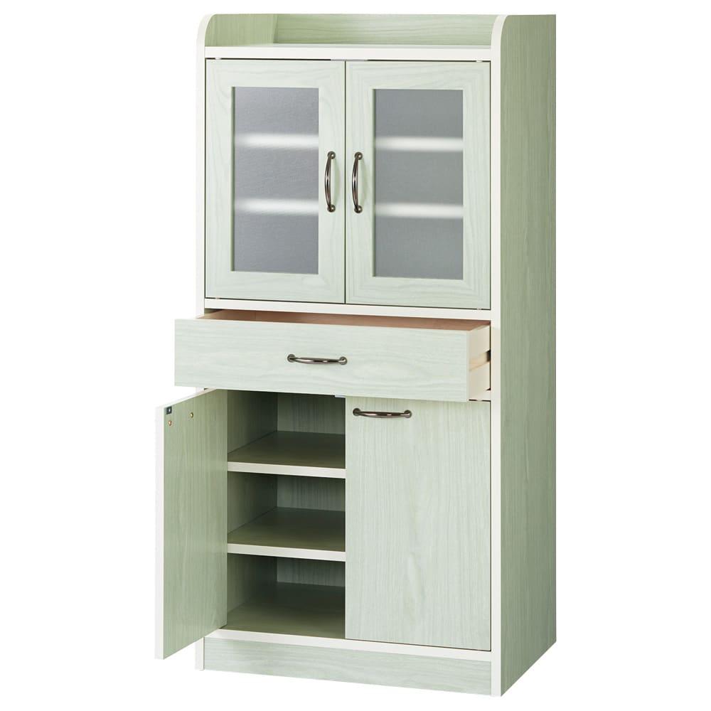 キッチン収納ミニ食器棚シリーズ キャビネット大(高さ120.5cm) (ア)グリーン系