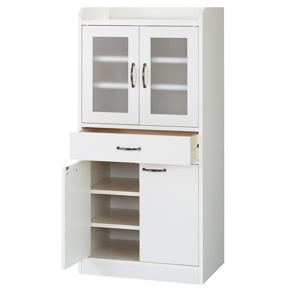 キッチン収納ミニ食器棚シリーズ キャビネット大(高さ120.5cm) (イ)ホワイト