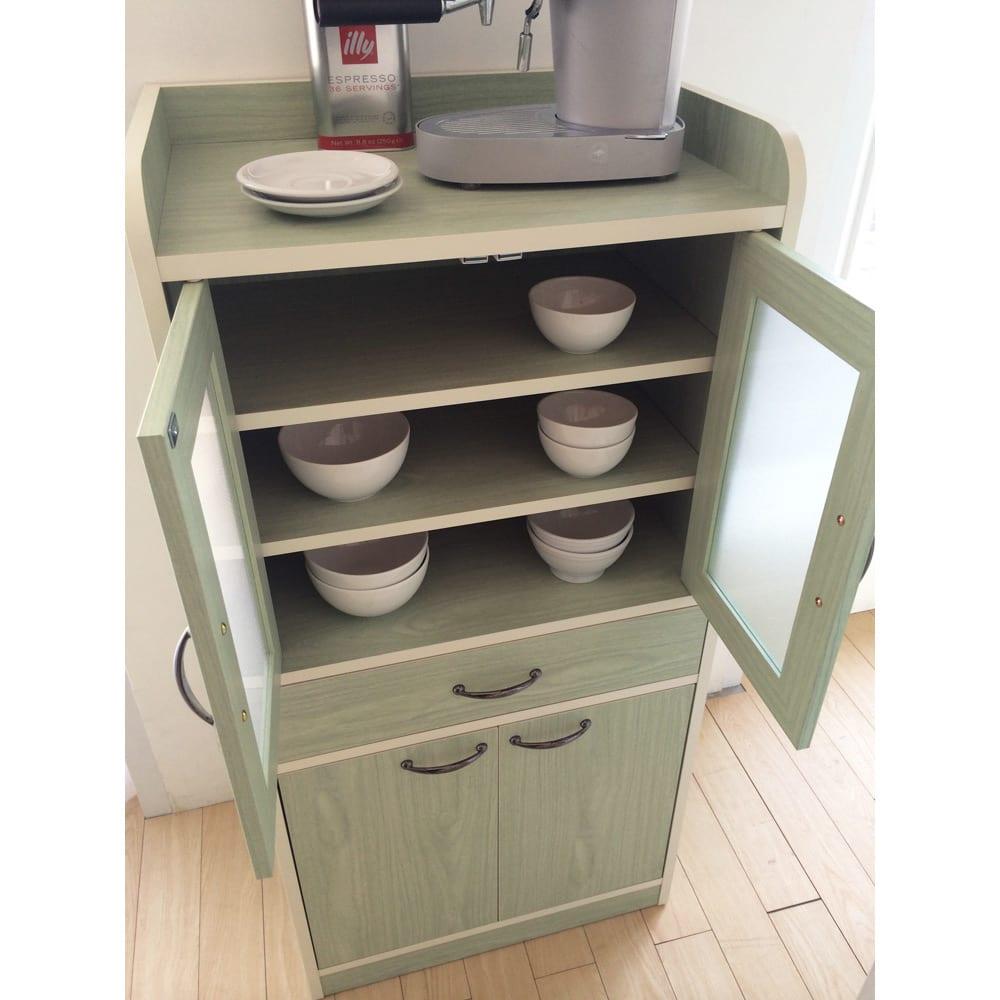 キッチン収納ミニ食器棚シリーズ キャビネット大(高さ120.5cm)
