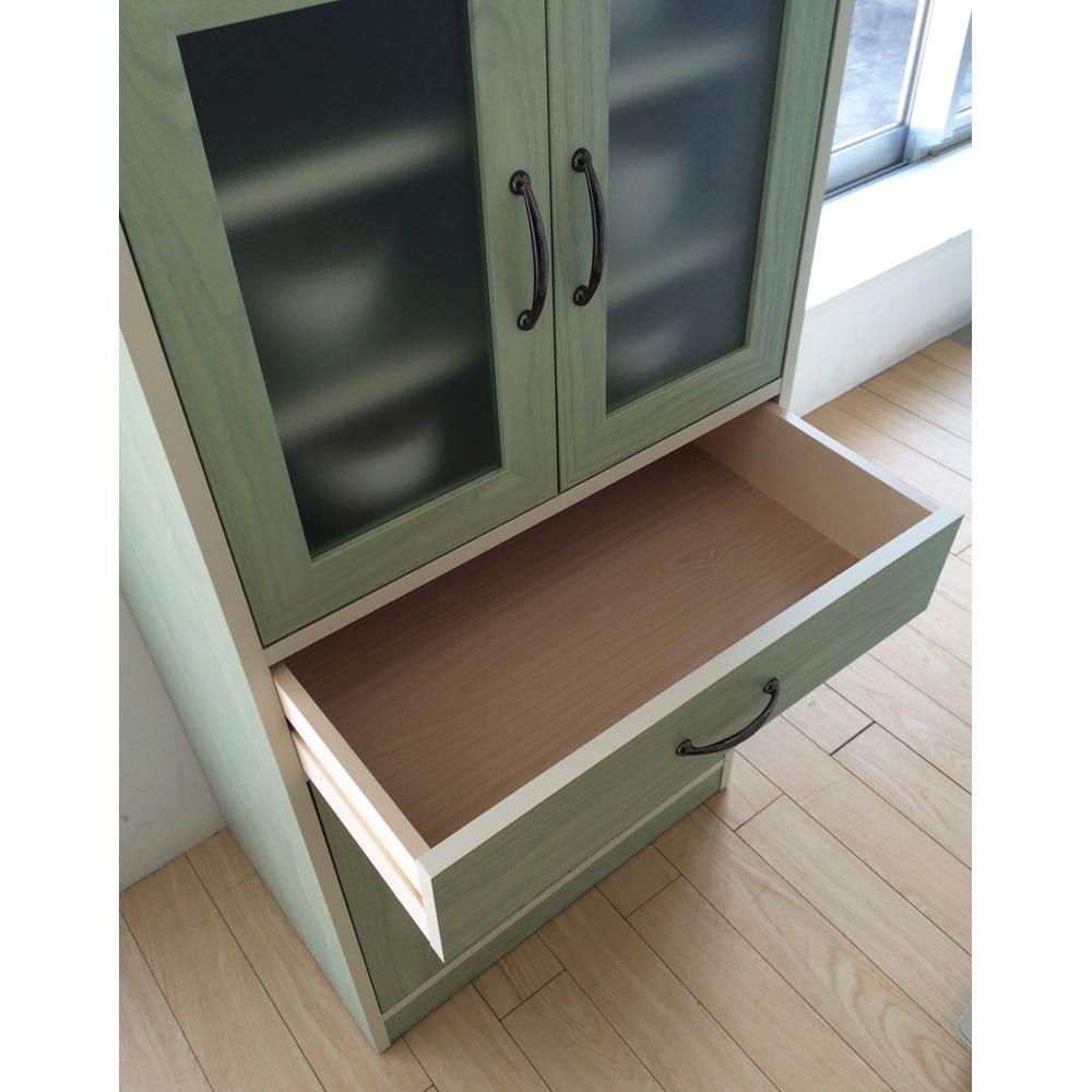 キッチン収納ミニ食器棚シリーズ キャビネット大(高さ120.5cm) スプーンや箸などをしまえる小引き出し付き。
