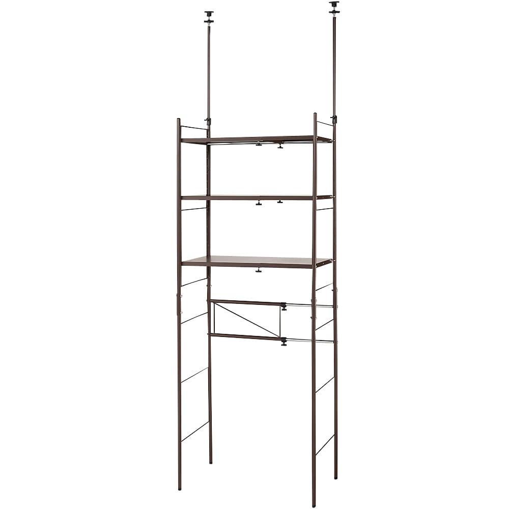 幅伸縮キッチンラック 突っ張り式・棚3段 幅47.5~70cm・高さ194~272cm (イ)ダークブラウン