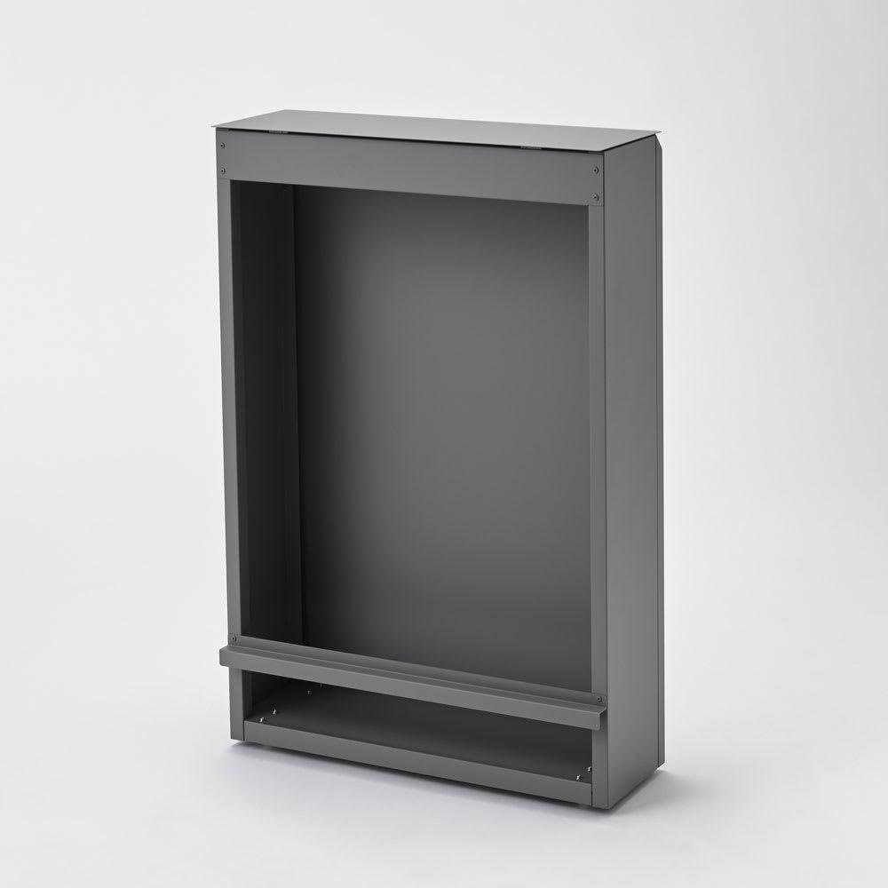 キッチン奥にも置ける 奥行スリムダストボックス 大 幅50cm・奥行18cm・高さ75.5cm (ア)アッシュグレー ゴミ袋をそのまま取り付ける背面オープンタイプ。ペールがないからお手入れもラク。