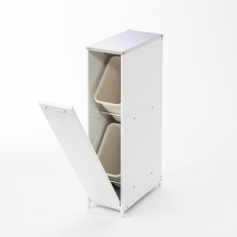 分別できるペール付きすき間ダスト収納 ロータイプ高さ85cm・2分別 幅22cm 上下にペール付きでゴミが2分別できます。