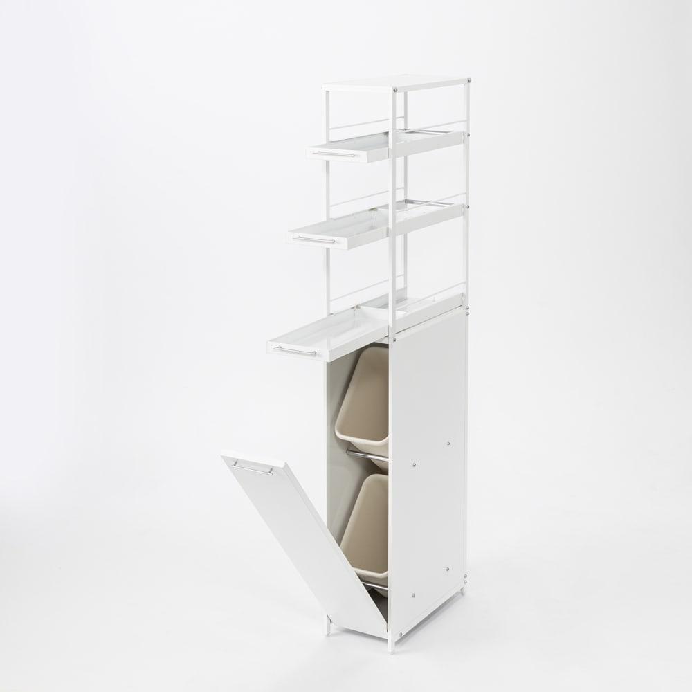 分別できるペール付きすき間ダスト収納 ハイタイプ高さ150cm・2分別 幅22cm 扉内は上下にペール付きで、ゴミが2分別できます。