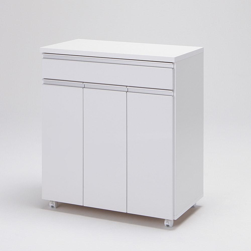 《3分別》ペールのふたが自動で開閉する 分別ダストワゴン 幅75cm (イ)ホワイト