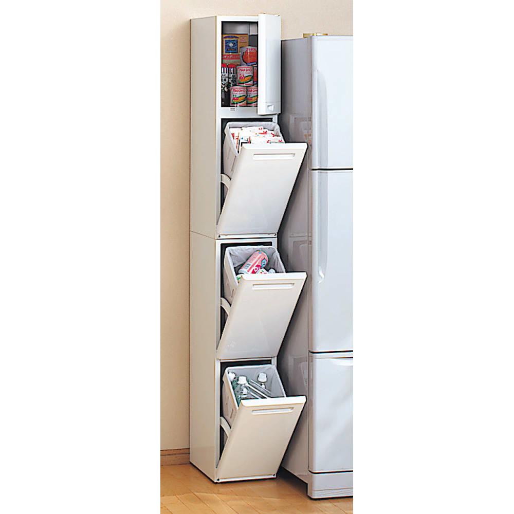 キッチンすき間収納 トールタイプダストボックス 3分別 本体幅が25cmなので、狭いキッチンでお困りの方はぜひ!
