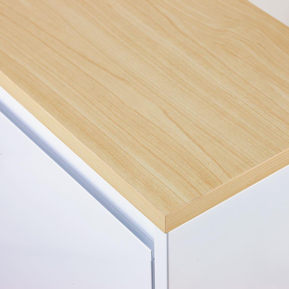 カラフルなペールでわかりやすく分別できる スチール製ダストボックス 幅72cm 高さ95cm (ア)ホワイト 天板はお部屋になじむ天然木調のメラミンシート仕様。