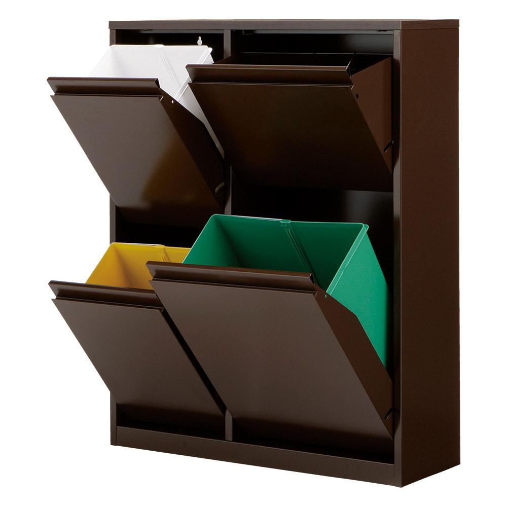 カラフルなペールでわかりやすく分別できる スチール製ダストボックス 幅72cm 高さ95cm (イ)ブラウン ペール小2個 大1個